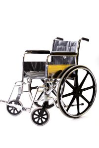 A isolated wheelchair. Durable Medical equipment to help patients.